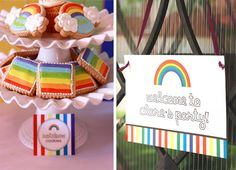 Rainbow Guest Dessert Feature | Amy Atlas Events Rainbow Loom Party, Rainbow Activities, Colorful Party, Pinwheels, Amy, Birthday, Sweet, Desserts, Kids