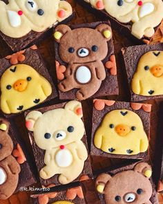 Rilakkumar & friends brownies by Cute Food, Good Food, Chinese New Year Cookies, Bear Cookies, Biscuit Cake, Mouth Watering Food, Cute Desserts, Christmas Desserts, Cakes And More