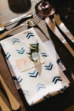 indigo hand painted napkins with seaglass and dip dyed calligraphy montauk beach wedding - lauren wells @laurenswells #lwellsevents