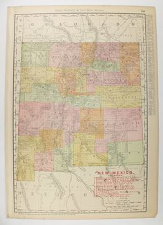 Antique Map Colorado New Mexico Map 1885 Vintage Geography Map