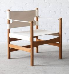 Børge Mogensen; #2221 Oak and Canvas Chair for Fredericia, c1955.