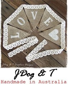 NEW Burlap Hessian Crochet Lace Bunting Love Country Vintage Wedding Decorations | eBay