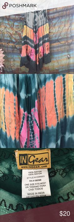 "100% Rayon Tie Dye Hippie Dress NWOT Features beautiful embroidery on the end of the dress. Vibrant and perfect for the beach, pool, casual summer wear. Could also be worn to a music festival. Bohemian hippie vibe. 38"" length. Never been worn! In Gear Dresses Midi"