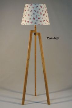 Handmade Tripod Floor lamp with unique wooden stand in natural light wood color, empire lampshade,different colors lampshade,model Zornitsa