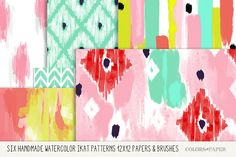 Handmade Watercolor Ikat Digital Papers 12x12 with Ikat Elements Brushes, Stamps & Png Files