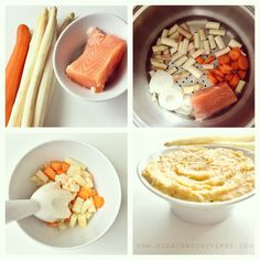 Salmon, white asparagus & carrot puree [7m+]