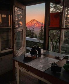 Mt Hood, Or. taking in the alpenglow from the Devil's Peak Fire Lookout, by instagrammer davynowen.