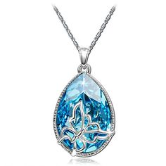 Brilla Christmas Gift Pendant Necklace Women Fashion Jewelry Butterfly Dream Teardrop Swarovski Elements Crysta Ocean Blue ** Learn more by visiting the image link.