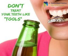 Dental Tip: Don't treat your teeth like tools ! If you use them to crack nuts, remove bottle tops or rip open packaging, you risk chipping or even breaking your teeth. Visit for your broken teeth problem :www.drsunalidentalsolution.com Call now to book an appointment:9953659909 #DrSunali #Oralhealth #dentaltip