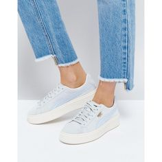 7d9d0c222469 Puma Suede Platform Sneaker In Blue (£86) ❤ liked on Polyvore featuring  shoes