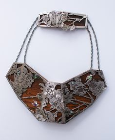 Anne Leger Plastron Necklace, 2011 Materials: Wood, silver, gold, amethyst, peridot, blue diamond