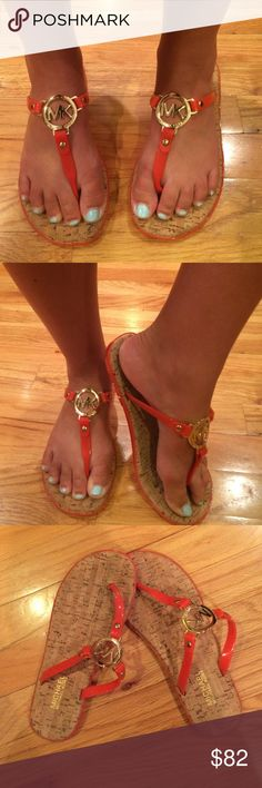 Michael Khors Coral Sandals! Cork with Coral and Gold straps Michael Kors Shoes Sandals