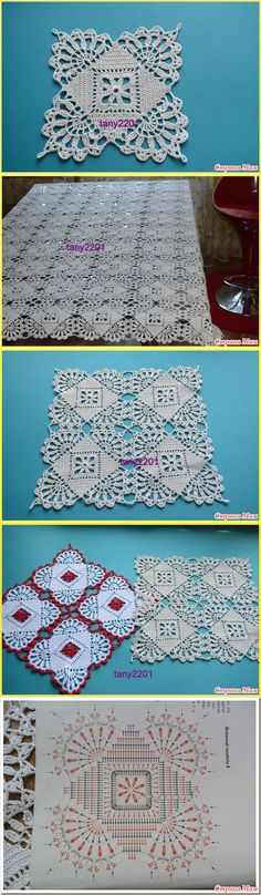 Pretty Square Crochet Lace Motif for Doily Crochet Art, Thread Crochet, Crochet Motif, Crochet Designs, Crochet Doilies, Crochet Flowers, Crochet Stitches, Crochet Bedspread Pattern, Crochet Blanket Patterns