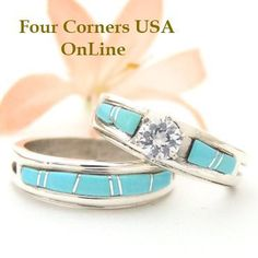 Four Corners USA Online - Size 8 1/2 Turquoise Engagement Bridal Wedding Ring Set Native American Silver Jewelry WS-1519, $240.00 (http://stores.fourcornersusaonline.com/size-8-1-2-turquoise-engagement-bridal-wedding-ring-set-native-american-silver-jewelry-ws-1519/)