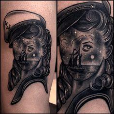 This mysterious lady is the work of Korean tattoo artist Varo. #InkedMagazine #tattoo #tattoos #inked #ink #art #surrealism