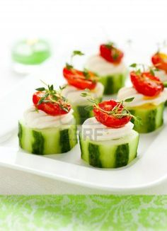 Cucumber with tomatoes and cheese