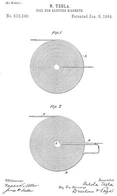 "Nikola Tesla's ""Coil for Electromagnets"" no# 512340  patented Jan 9th, 1894 ""If you only knew the magnificence of the 3, 6 and 9, then you would have a key to the universe."" -Tesla"