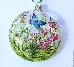 """Купить Елочный шар """"Полевая гвоздика"""" - разноцветный, лето, Новый Год, елочное украшение"""