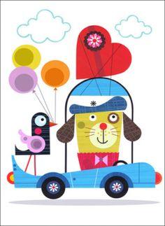 Ellen Giggenbach wenskaart Love Car #Card from www.kidsdinge.com    www.facebook.com/pages/kidsdingecom-Origineel-speelgoed-hebbedingen-voor-hippe-kids/160122710686387?sk=wall        http://instagram.com/kidsdinge  #Kidsdinge