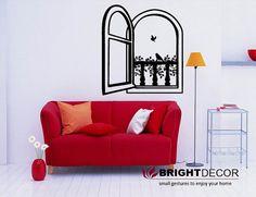 Romantic window with birds vinyl sticker wall decal by Brightdecor, $25.00