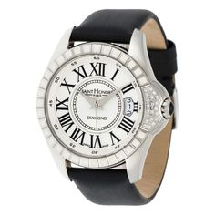 """""""Coloseo"""" Watch Leather Trimmed Strap, Diamonds 0.12 Ct"""