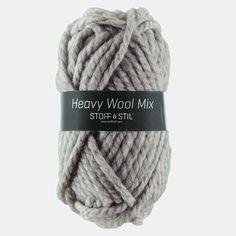 Garn heavy wool mix lys grå meleret
