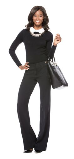 Collared Sweater, High Waist Modern Trouser Pants, Tall Work Tote and Mixed Media Necklace from THELIMITED.com