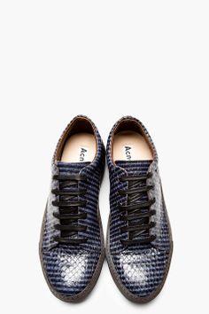ACNE STUDIOS Black & Blue Snakeskin Striped Sneakers