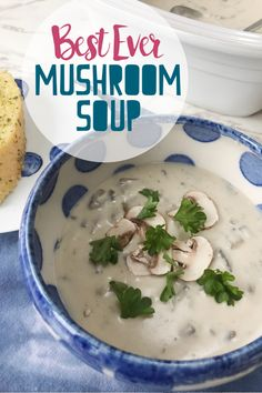 This MUSHROOM SOUP is the best ever recipe for tasty and easy made from scratch mushroom soup. Perfect as a winter warmer comfort food with a hunk of bread, or for a fancier dinner party recipe, drizzle with truffle oil and serve with toast melba. Best Mushroom Soup, Mushroom Recipes, Healthy Eating Recipes, Gourmet Recipes, Dinner Party Recipes, Truffle Oil, Soups And Stews, Family Meals, Food Print