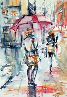 ARTFINDER: Walk in rain by Kovács Anna Brigitta - Original watercolour painting on high quality watercolour paper. I love landscapes, still life, nature and wildlife, lights and shadows, colorful sight. Thes...