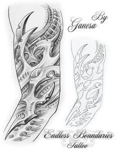 Bio mech sleeve by shepush on DeviantArt Dark Art Drawings, Tattoo Design Drawings, Skull Tattoo Design, Flower Tattoo Designs, Tattoo Sketches, Drawing Art, Skull Rose Tattoos, Body Art Tattoos, Hand Tattoos