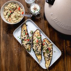 Looking for some healthy meal ideas? Let's prepare the eggplants in Remoska® and enjoy their delicious taste. Veggie Dishes, Avocado Toast, Quinoa, Veggies, Healthy Recipes, Meals, Photo And Video, Stuffed Eggplant, Breakfast