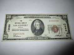 $20 1929 LOGANSPORT INDIANA IN NATIONAL CURRENCY BANK NOTE BILL! VF CH. #13580