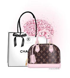 Trendy Wallpaper, Wallpaper Iphone Cute, Mode Collage, Chanel Wallpapers, Louis Vuitton Agenda, Bag Illustration, Boutique Logo, Chanel Logo, Expressive Art