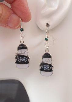 New York Jets Earrings, Jets Jewelry, Green Crystal Leverback Snowman Charm Earrings, Pro Football Jets Accessory Fanwear, Christmas by scbeachbling on Etsy