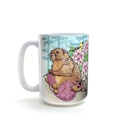 Knitting Marmot Mug - Who doesn't need this happy little guy to keep them company while having a cup of hot coffee in the morning. Size: 15 oz ceramic mug Dishwasher and Microwave Safe Designed and printed by Two Little Fruits in Denver CO. Coffee Art, Hot Coffee, Coffee Time, Morning Coffee, Coffee Mugs, Colorful Wall Art, Funny Mugs, Wall Colors, Unique Art