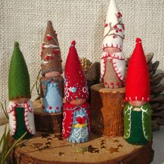 Winter gnomes. Love their collars.
