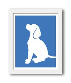 Wall art Beagle Print version 3 Beagle Silhouette by ShapeofLove on Etsy