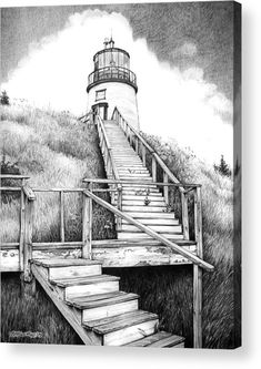 Owl's Head Leuchtturm Leinwanddruck / Leinwandkunst von Bob Manthey Source by OneEyedWolf Owls Head Lighthouse, Lighthouse Drawing, Pencil Art Drawings, Drawing Sketches, Drawing Ideas, Drawing Tips, Realistic Drawings, Drawing Faces, Art Sur Toile