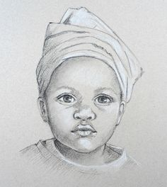 Portrait of a child from Carole Massey's 'How To Draw Portraits' video course at…