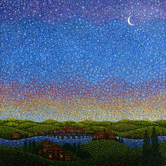 Father Arthur Poukin Pointillism, Moonlight, Mystic, City Photo, Northern Lights, Father, Mountains, Night, Artwork