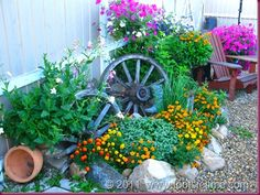 showing possibilities with the old metal and old wooden wheels from wagons and farm equipment, etc