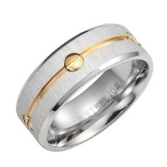 Impressive 316L Stainless Steel Mens Ring Band Silver Gold 8mm | RnBJewellery