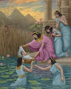 Moses saved from the water - art by Manuel Gervasini / The Pharoah's daughter saved him, Miriam brought his mother Yochabel to nurse him. Lds Art, Bible Art, Bible Scriptures, Religious Pictures, Scripture Pictures, Religious Paintings, Religious Art, Bible Illustrations, Christian Pictures
