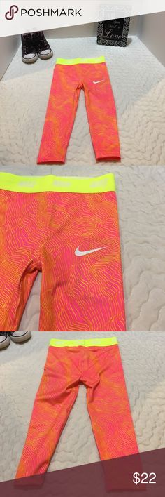 2 for $26 Adorable Nike Dri-Fit Pink/Yllw Leggings Adorable Nike Dri-Fit Pink/Yellow Pants. NWT 95% Polyester/5% Elastane.  Buy any 2 Nike pants or sweatershirt and offer me $26. I'll accept. Please see other listings for other colors!  Thanks!!  4T available Nike Bottoms Leggings