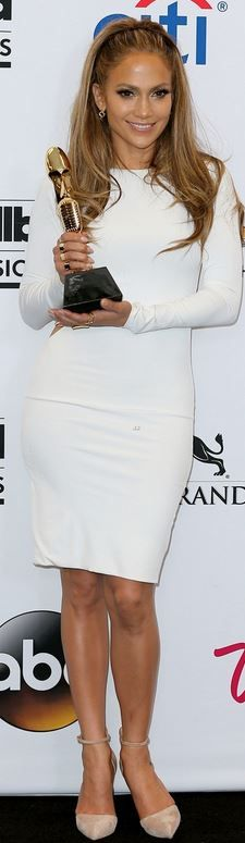 Who made  Jennifer Lopez's white long sleeve dress, jewelry, and nude pumps that she wore in Las Vegas on May 18, 2014?