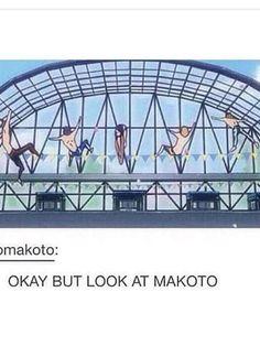 Rin: jump the fence Rei: slipped on a banana Haru: DIVE WATER PERFECT Nagsai: Slipped on the edge Makoto: Makoto