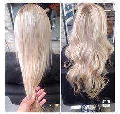 Long Blonde Curls, Curled Blonde Hair, Blonde Hair Looks, Platinum Blonde Hair, Perfect Hair Color, Perfect Blonde, Hair Color And Cut, Cut Her Hair, Love Hair