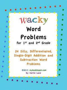 Wacky Word Problems for 1st and 2nd grade Primary Teaching, Teaching First Grade, Teaching Math, Teaching Ideas, Teacher Notebook, Teacher Notes, Teacher Stuff, 1st Grade Books, Second Grade Math