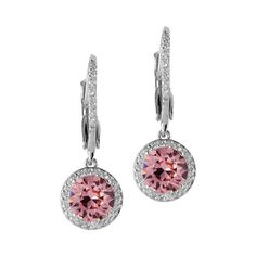 $40 Rose Pink Crystal Halo Leverback Earrings